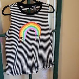 Hot Topic L B&W striped tank w/rainbow&open back